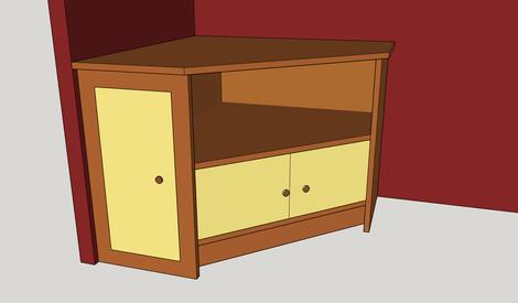 meuble tv d'angle en chêne